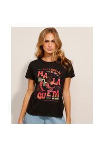 """Camiseta De Algodão """"Malagueta"""" Manga Curta Decote Redondo Preta"""