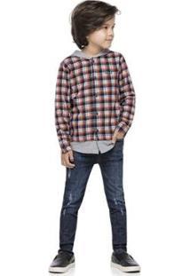 Camisa Tecido Flanelado Fio Tinto Infantil Quimby Masculina - Masculino-Cinza+Preto