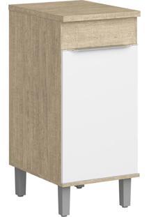 Balcão De Cozinha 1 Porta Cs602P Acácia/Branco - Decibal Móveis