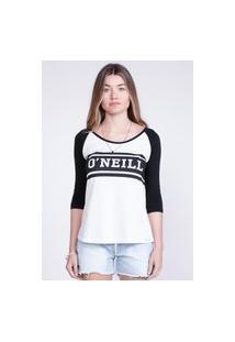 Camiseta Oneill Feminina Manga Longa Raglan Estampada Logo Preta