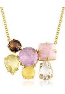 Colar Toque De Joia Pedras Naturais Glamour Ouro Amarelo - Tricae