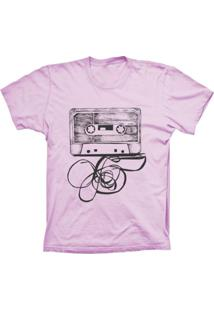 Camiseta Baby Look Lu Geek Fita K7 Rosa