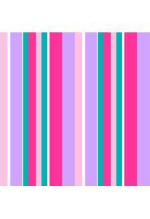 Papel De Parede Adesivo Listras Rosa E Lilás (0,58M X 2,50M)