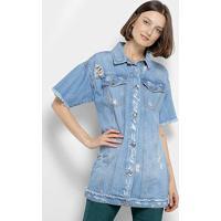 60f041c2e Colete Camisa Jeans Coca-Cola Manga Curta Desfiado Puídos Feminino -  Feminino-Azul