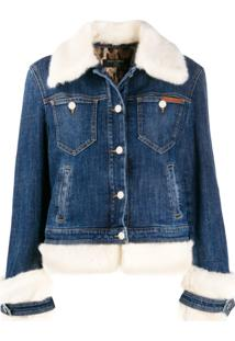 Dolce & Gabbana Faux-Fur Trimmed Denim Jacket - Azul