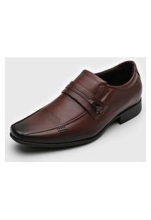 Sapato Social Pegada Recortes Marrom/Caramelo