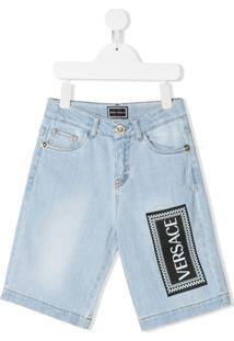 Young Versace Shorts Jeans Com Logo - Azul