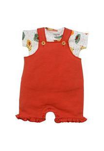 Conjunto Jardineira Bebê Vermelho Tilly Baby G Vermelho