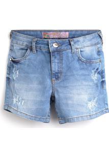Bermuda Jeans Colcci Fun Menina Lisa Azul