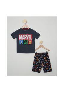 Pijama Infantil Marvel Os Vingadores Manga Curta Azul