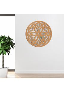 Escultura De Parede Wevans Mandala Amazing, Madeira + Espelho Decorativo