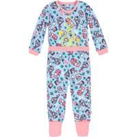 2fb8f4132 Pijama Bebê Menina Em Malha De Algodão Com Calça Que Vira Pé E Estampa Que  Brilha