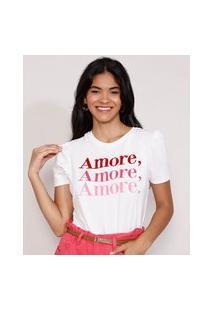 "Camiseta Feminina Manga Bufante ""Amore"" Flocada Decote Redondo Branca"