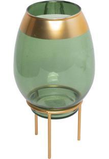 Castiçal Jade Verde E Dourado 13X26 Cm