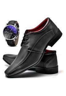 Sapato Social Masculino Db Now Com Relógio Dubuy 804Od Preto