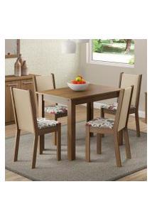 Conjunto Sala De Jantar Madesa Cíntia Mesa Tampo De Madeira Com 4 Cadeiras Rustic/Crema/Hibiscos