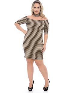 216d7fc3d2 Vestido Listras Plus Size feminino
