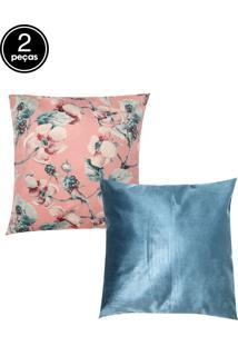 Kit 2Pçs Capas De Almofada Próxima Veludo Romance Rosa/Azul