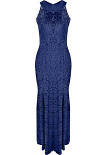 Vestido de formatura azul royal longo com renda