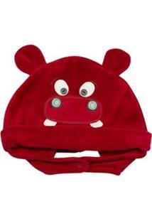 Touca Infantil Ano Zero Hipopótamo - Masculino-Vermelho