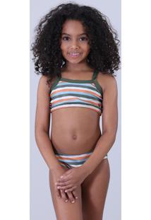dc84134fc CEA. Biquíni Infantil Água De Coco Estampado Listrado Com Proteção Uv50+  Verde Escuro