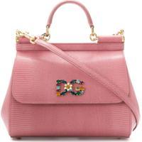 643717594 Dolce & Gabbana Bolsa Tote 'Sicily' De Couro - Rosa