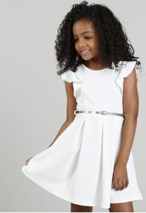 Vestido Infantil Em Jacquard Com Cinto Metalizado Off White
