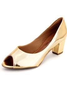 Peep Toe Dafiti Shoes Metal Dourado