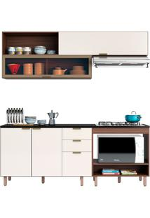 Cozinha Compacta 3 Peças C/ Forno Flair-Poliman - Nogueira / Of White