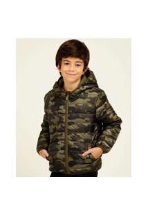Jaqueta Infantil Puffer Capuz Camuflada Mr Tam 4 A 10