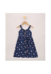 Vestido Infantil Estampado De Flamingo Com Nó Alça Média Azul Marinho