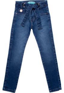 Calça Jeans Infantil Oznes Com Cinto Ajustada Menina Azul - 4