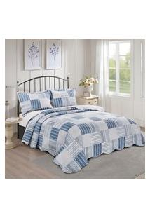 Colcha King Dole Camesa Evolution Patchwork 260X280Cm Azul/Branco
