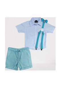 Camisa Branca Social Com Bermuda Verde Infantil
