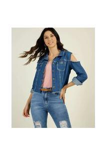 Jaqueta Feminina Jeans Open Shoulder Razon