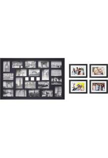 Conjunto Painel E 4 Porta-Retratos 53X139 Cm Nossa Vida Preto