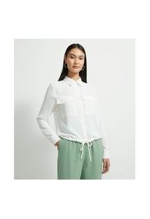 Camisa Manga Longa Com Bolsos Frontais E Botões De Pérola | Cortelle | Branco | G