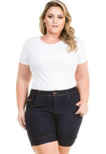9856ec51fc Shorts Confidencial Extra Plus Size Jeans Cintura Alta Feminino - Feminino -Marinho