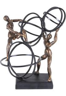 Escultura Udecor Homens Bronze Preto
