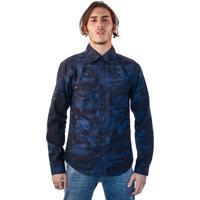 Camisa Jeans Malhas Carlan Camuflada Masculina - Masculino-Azul fc5b591ff08
