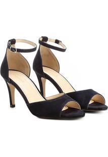 668c94eb59 Sandália Couro Shoestock Salto Fino Naked Tornozeleira Feminina - Feminino