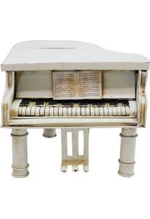 Enfeite Metal Minas De Presentes Piano Branco