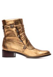 Bota Feminina Metal Leather - Dourado
