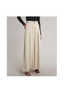 Calça Feminina Mindset Pantalona Alfaiatada Com Bolsos Bege Claro