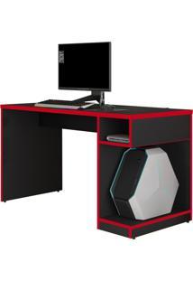 Mesa Para Computador Notebook Gamer X Preto Vermelho Fit Mobel
