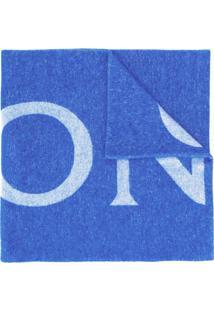 Moncler Cachecol De Tricô Com Logo - Azul