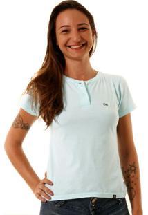 Camiseta Oitavo Ato Henley Azul Piscina