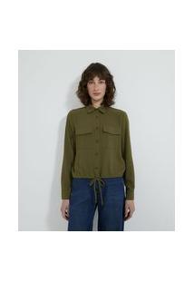 Camisa Manga Longa Com Bolsos Frontais E Botões De Pérola | Cortelle | Verde | Pp