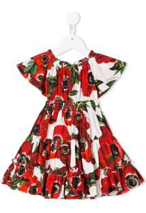 Dolce & Gabbana Kids Vestido Com Estampa Floral - Vermelho