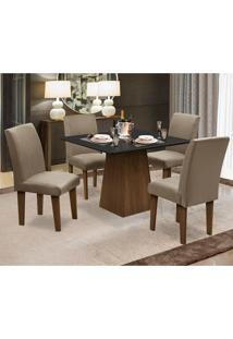 Conjunto De Mesa Para Sala De Jantar Com 4 Cadeira Florença Fit - Dobue - Castanho / Preto / Mascavo